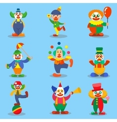 Clown cute characters cartoon vector