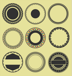 Collection of round decorative border frames vector