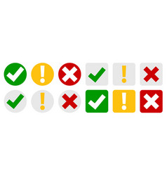 collection set check mark exclamation point x vector image