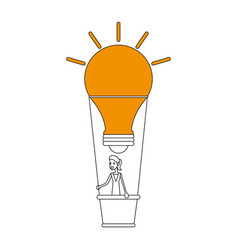 Color silhouette image ligth bulb hot air balloon vector