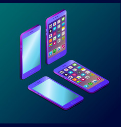 Colored futuristic smartphone in isometry vector