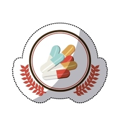 colorful sticker with pills in circle with olive vector image