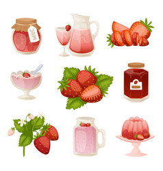 confectionery desserts strawberry milk cake vector image