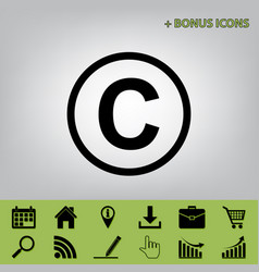 Copyright sign black icon at vector