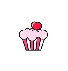 Cupcake with heart flat style vector