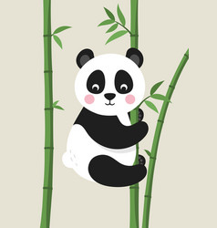 Cute panda bear on bamboo branch vector