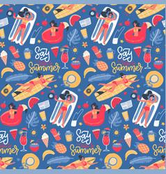 cute summer time bright cartoon seamless pattern vector image