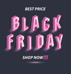 dark banner for black friday sale isometric pink vector image