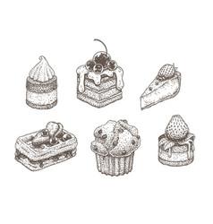 dotwork desserts vector image