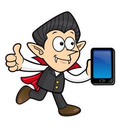 Dracula character business card and thumb up vector