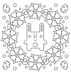easter wreath rabbit coloring page vector image