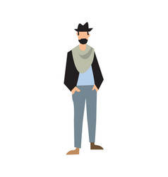 elegant bearded man in hat pants and jacket vector image
