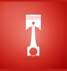 engine piston icon isolated on red background vector image