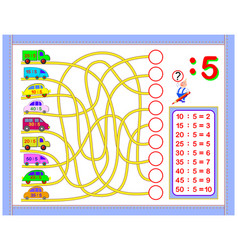 Exercises for kids with division number 5 vector