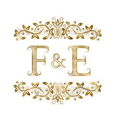 F and e vintage initials logo symbol vector