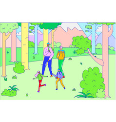 Family relaxing walk hiking camping outdoor tree vector