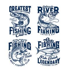 fishing club t-shirt prints sea fish on rod hook vector image