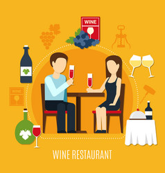 flat wine restaurant vector image