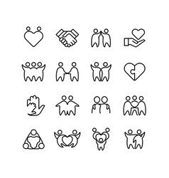 friend buddy and gay line icons friendship vector image