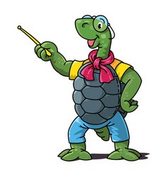Funny turtle teacher with pointer vector