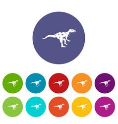 Gallimimus dinosaur icons set flat vector