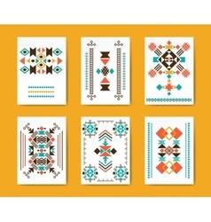 Geometric hipster tribal triangular flyers vector image