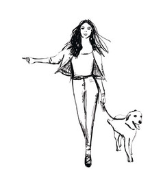 girl with dog fashion sketch vector image