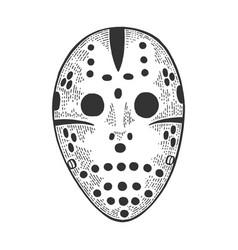 goaltender mask sketch engraving vector image