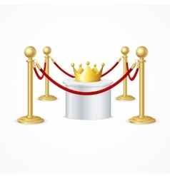 Gold Crown and Red Rope Barrier vector image
