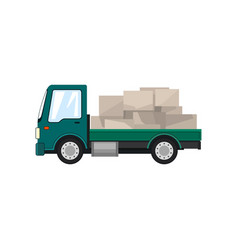 green small truck with boxes isolated vector image