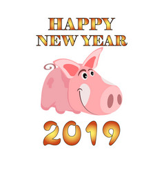 greeting card with the image of a cartoon pink pig vector image