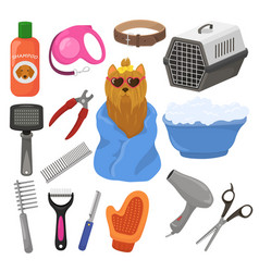 Grooming pet dog accessory or animals tools vector