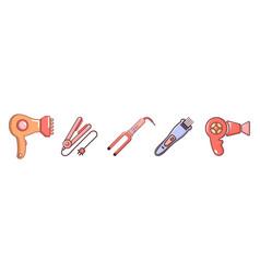 Hair tools icon set cartoon style vector