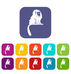 Hairy monkey icons set flat vector