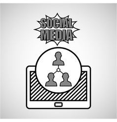 hand drawing team social media mobile vector image
