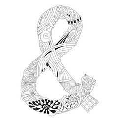 hand drawn zentangle ampersand for coloring page vector image