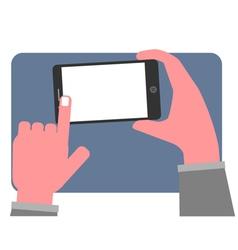 Hand touching blank screen vector