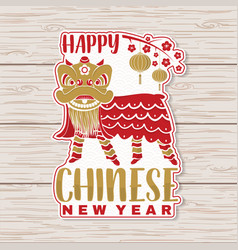 happy chinese new year sticker design vector image
