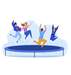 Happy young people at trampoline character flat vector