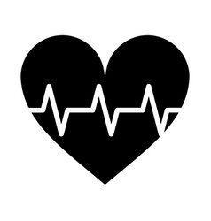 heart pulse rhythm cardio pictogram vector image