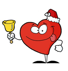 Heart Santa with Bell vector image