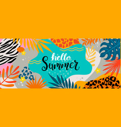 hello summer 2020 greeting banner vector image