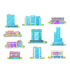 Hotel and night club buildings isolated icons vector