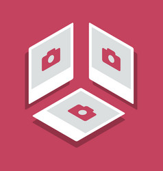 isometric with photo frames in three vector image