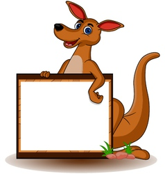 Kangaroo with blank board vector
