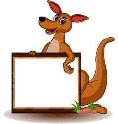 kangaroo with blank board vector image