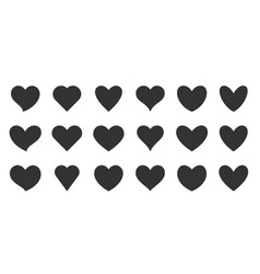 love heart shapes black flat silhouette icon set vector image