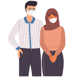Male character and arabian woman wear medical vector