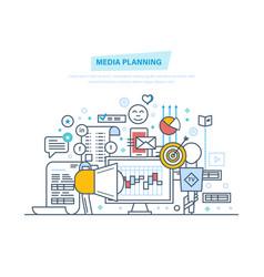 Media planning digital marketing promotion in vector