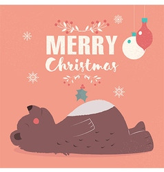 Merry Christmas lettering postcard with brown bear vector